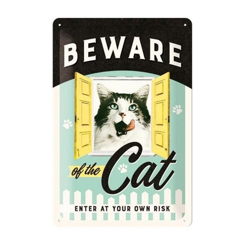 Metal Plate - Vintage -  Beware of the Cat